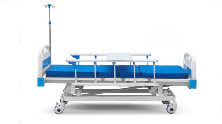 3 cranks manual hospital bed with Aluminium alloy guardrail
