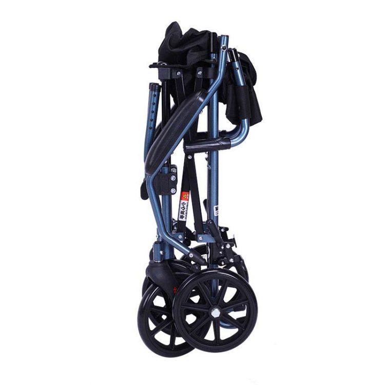 Folded transport wheelchair