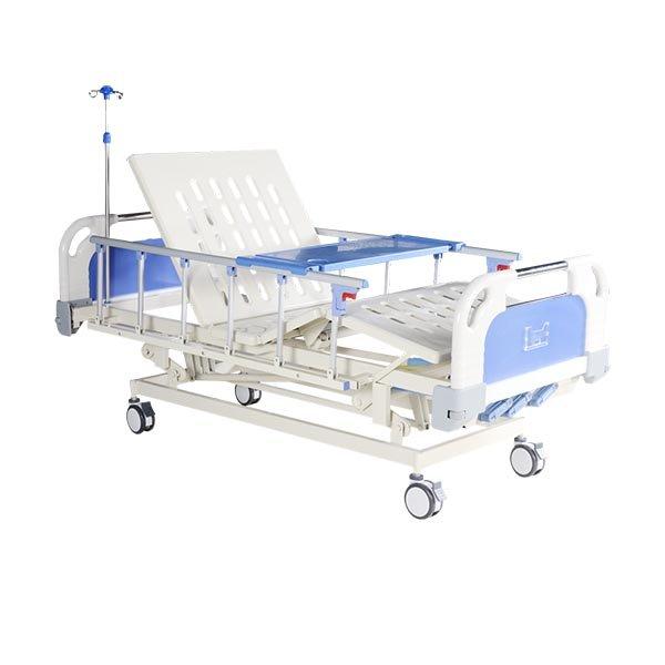Three Crank Hospital Bed Wiht IV Pole