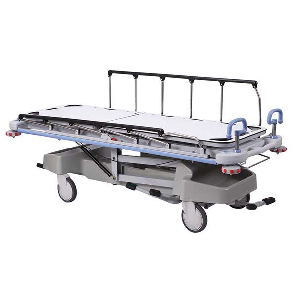 Hydraulic stretcher with side rails