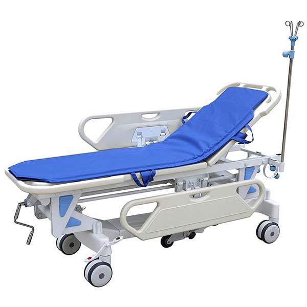 Back adjustable hospital trolley bed