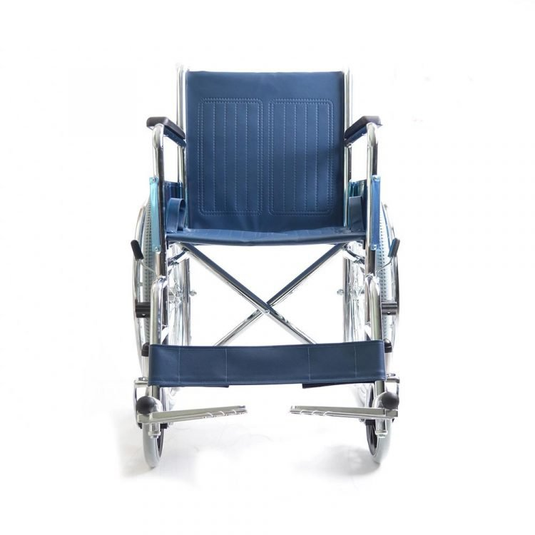 Fixed armrest and footrest standard wheelchair with chrome plated